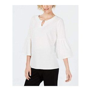 JM Collection Womens Keyhole Bell Sleeve Top